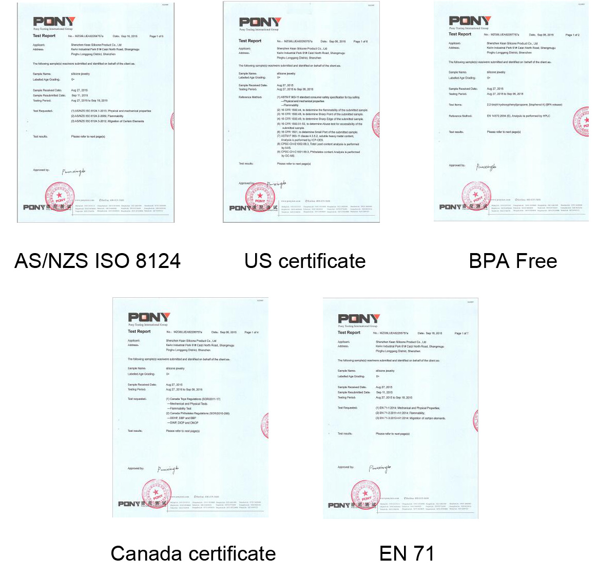 certificates of silicone jewelry