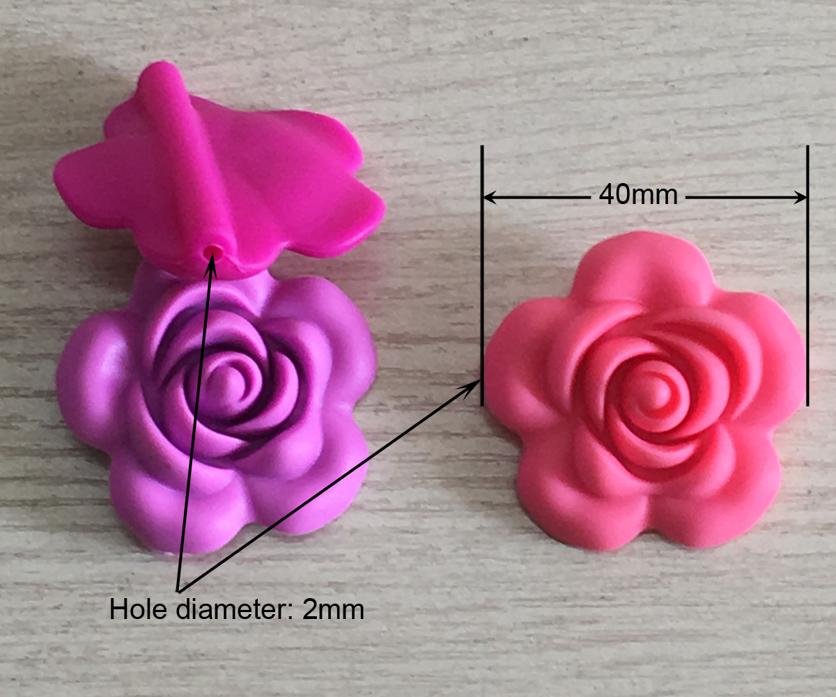 40mm silicone flower bead