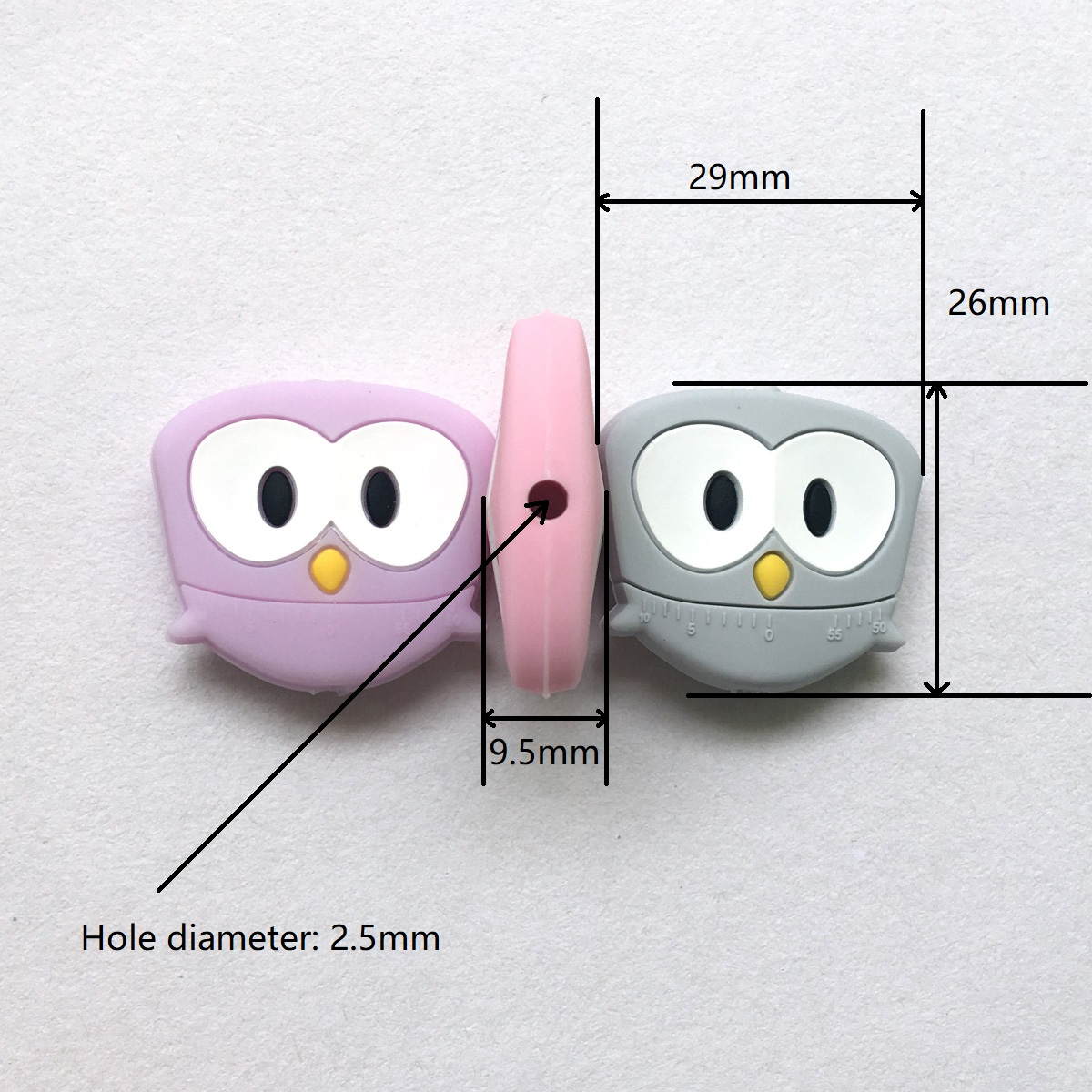silicone owl beads