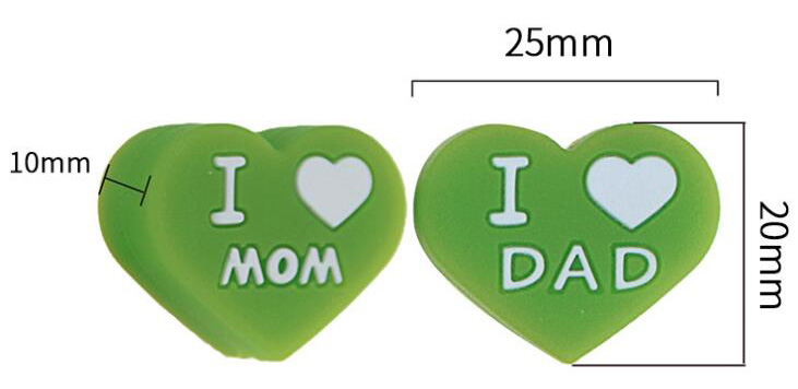 size of I love mom and dad silicone heart beads