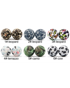 100pcs 12mm silicone round beads with printed images