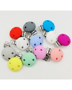 10pcs round shaped silicone pacifier clips baby pacifier holder teething dummy clip soother clips without chain
